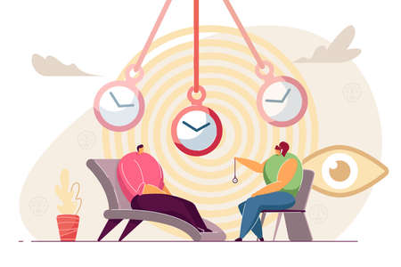 Patient at hypnosis session. Cartoon psychotherapist with pocket watch making client go into trance flat vector illustration. Therapy, hypnosis concept for banner, website design or landing web page Ilustração