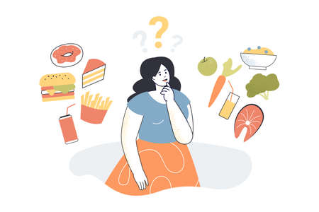 Woman thinking about food. Female person choosing between healthy and junk food, good or bad choice flat vector illustration. Health, food, diet concept for banner, website design or landing web page Ilustração