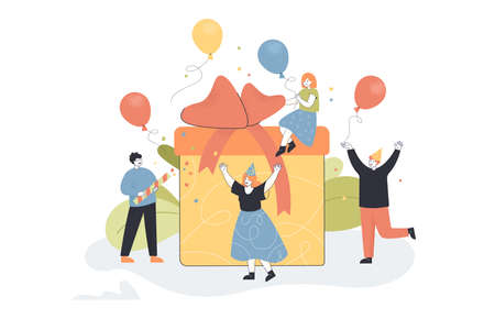 Tiny people surprising girl with gift. Birthday celebration or party, friends in hats flat vector illustration. Birthday, Christmas, party concept for banner, website design or landing web page Ilustração