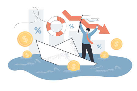 Tiny person with business problems. Down arrow, company failure, loss and debt flat vector illustration. Bankruptcy, economy, financial crisis concept for banner, website design or landing web page