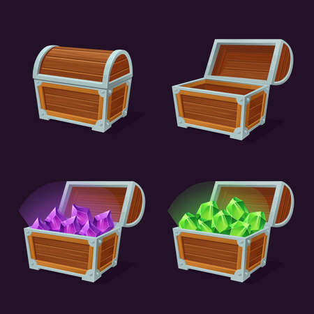Bright treasure chests flat pictures set. Cartoon colorful closed and open chests with gems jewelry isolated vector illustrations. Game UI design and pirate trophy concept Ilustração