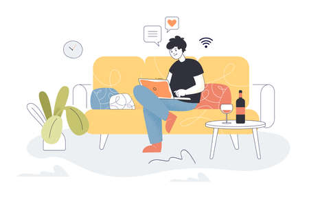 Man chatting to friends on laptop at home. Person sitting on sofa with computer flat vector illustration. Communication, quarantine, remote work concept for banner, website design or landing web page