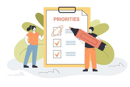 Tiny people prioritizing important tasks together. Workers choosing agenda, making list flat vector illustration. Progress, teamwork, priority concept for banner, website design or landing web page