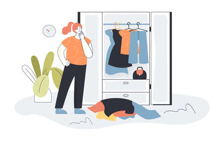 Woman choosing clothes from wardrobe. Female character picking outfit, pile of clothes, closet flat vector illustration. Organization, fashion concept for banner, website design or landing web page Ilustração