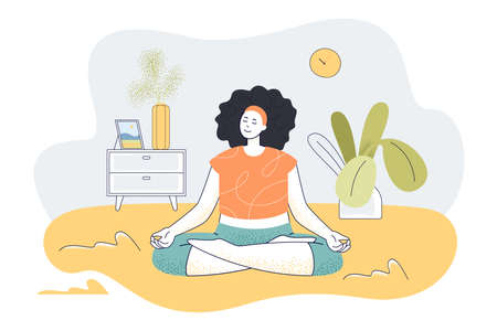 Calm woman doing yoga exercises at home. Female character meditating in morning flat vector illustration. Wellness, yoga, health, lifestyle concept for banner, website design or landing web page