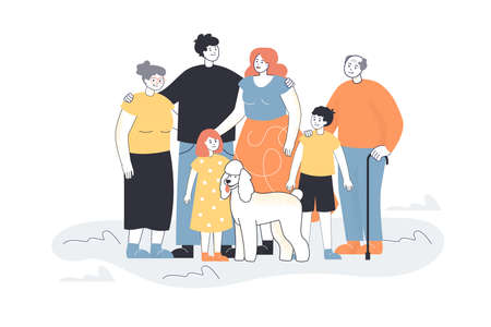 Happy big cartoon family with dog. Father, mother, son, daughter, grandpa, grandma and pet flat vector illustration. Family, relatives concept for banner, website design or landing web page Imagens