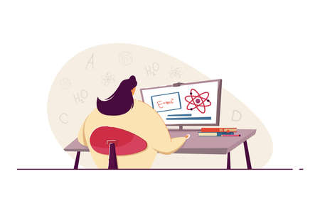 Woman doing mathematical calculations. Young female trying to solve mathematical task using computer. Looking for solution. Science, knowledge concept for banner, website design or landing web page