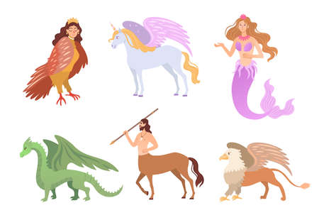 Different mythical creatures flat vector illustrations set. Fantasy characters, centaur, harpy, dragon, mermaid, Pegasus, griffin isolated on white background. Greek mythology, magic, monsters concept