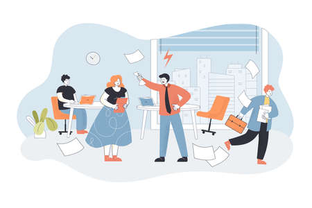 Angry boss shouting at workers in office. Flat vector illustration. Nervous boss unsatisfied with work done, scolding his subordinates, while chaos in office. Business, conflict, management concept Vecteurs