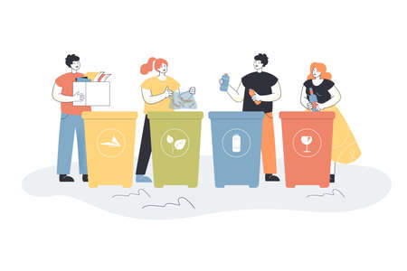 Cartoon people sorting trash flat vector illustration. People putting garbage in different trash cans or containers for glass, paper, plastic, food waste. Recycling, waste sorting, ecology concept