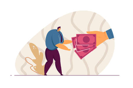 Giant hand giving cash to office worker. Male character taking money flat vector illustration. Salary, income, finances, wealth, profit concept for banner, website design or landing web page
