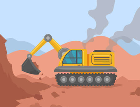 Excavator digging ground on construction site illustration. Heavy yellow construction machinery doing earthwork. Industry, construction, transportation concept
