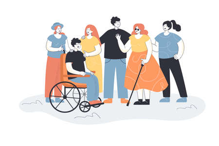 Men and women welcoming people with disabilities. Group of people meeting blind female character and male in wheelchair. People talking, smiling. Inclusion concept for banner, website design