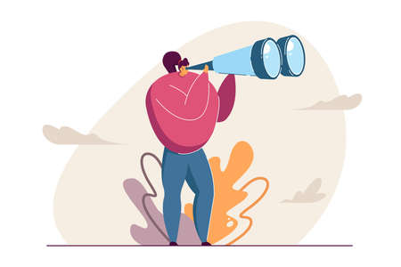 Girl looking through binocular far ahead vector illustration. Woman standing and seeing sights from afar. Clouds, bushes in background. Tourist, explorer concept