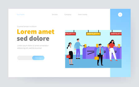People going through turnstile entrance isolated flat vector illustration. Cartoon passengers standing queue with train tickets near automatic gate in metro. Public transport and subway pass concept Ilustração Vetorial