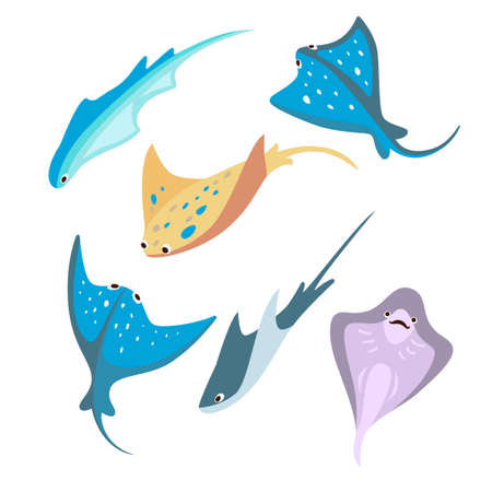 Set of cute colorful stingrays cartoon vector illustration. Different swimming Manta Rays, sea animals living in ocean. Animal, nature, fish, sea concept for banner design or landing page