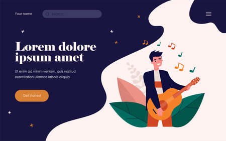 Happy guy playing guitar. Singer, musician, rocker flat vector illustration. Music, talent show, performance concert concept for banner, website design or landing web page