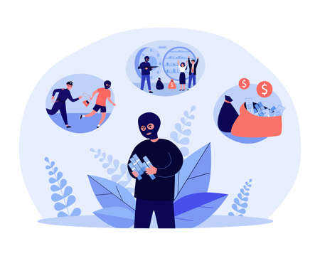 Robber getting money by illegal means. Flat vector illustration. Masked man counting money, robbing people and banks, stealing money, breaking law. Crime, robbery, theft, money concept for design Vektorové ilustrace