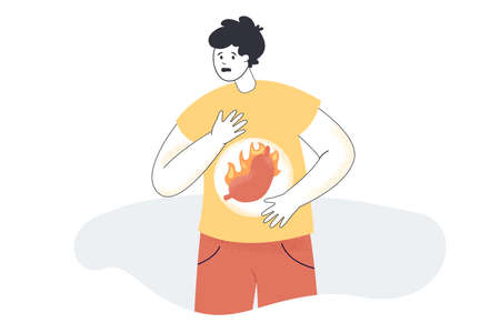 Cartoon man with stomachache or heartburn. Character with gastric disease, abdominal pain, acid reflux, symptom of gastritis or pancreas flat vector illustration. Health, gastroenterology concept