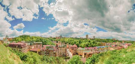 Kiev, the Capital of Ukraine. Panorama of the city Kyiv. Vozdvizhenka and Gonchara street.