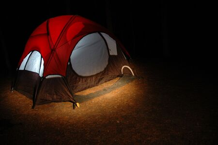 roughing: Tent lit up by light inside