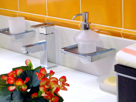 Inter of bathroom - basin and faucet Stock Photo - 4137644