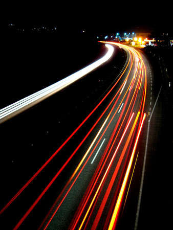 afterglow: Lights of evening traffic Stock Photo
