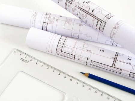 architectonic: architectonische schets van huis-plan Stockfoto