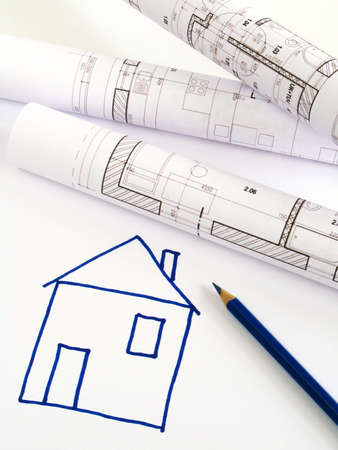architectural sketch of house plan  Stock Photo