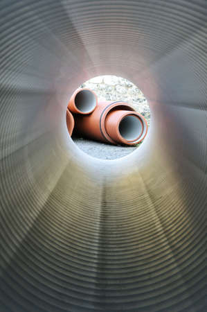 sewer pipe: Inside of plumbing tube