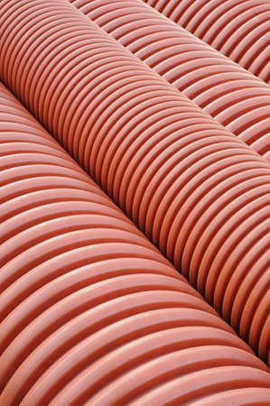 plastic conduit: Plumbing tubes close-up   Stock Photo