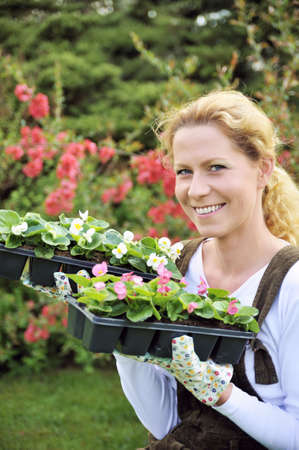 transplants: Young woman holding seedlings Stock Photo
