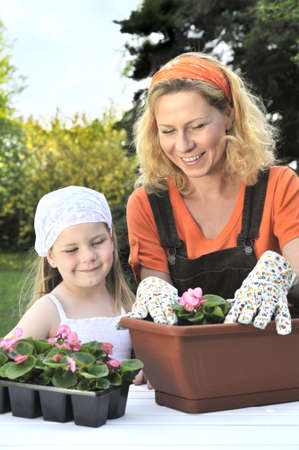 Mother and daughter having gardening time Stock Photo - 5604453