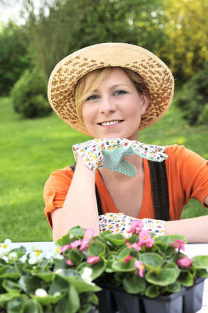 ornamental horticulture: Young woman - gardening Stock Photo