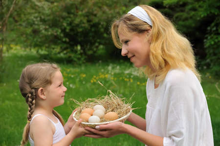 Mother and daughter having Easter time Stock Photo - 6160587