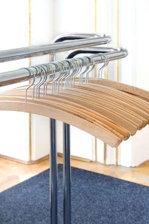 Empty clothes hangers photo