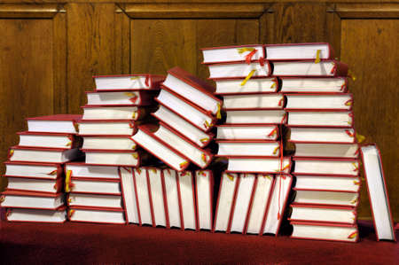 hymn: Hymnals and prayer books - stack Stock Photo
