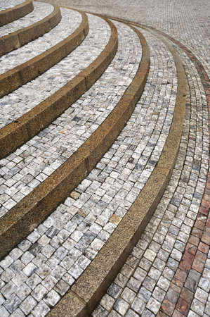 Old curved stone steps � cobblestones � granit � outdoor photo
