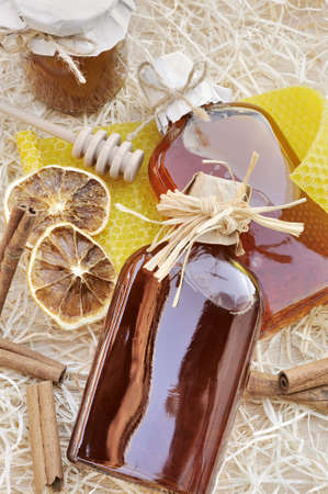 mead: Natural products made of honey – still life Stock Photo