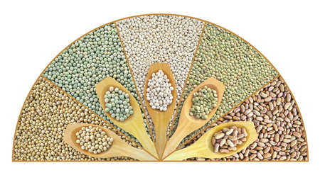 soya bean plant: Collage of dried lentils, peas, soybeans, beans with wooden spoon
