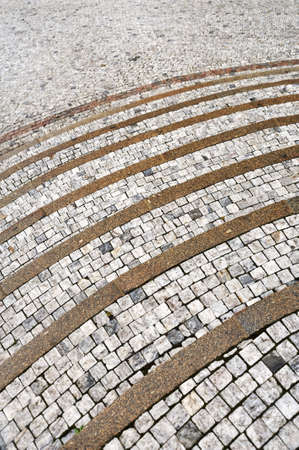 Old curved stone steps - cobblestones - granite - outdoor photo