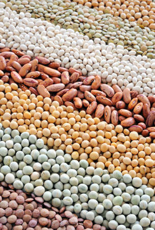 pulses: Mixture of dried lentils, peas, soybeans, beans  - background
