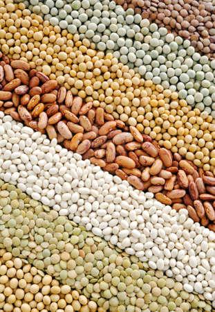 soya: Mezcla de lentejas secos, guisantes, frijoles de soya, frijoles - fondo