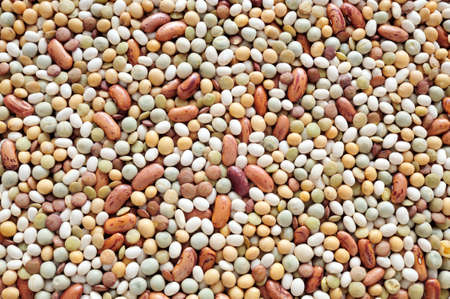 Mixed pulse - lentils, peas, soybeans, beans - background photo