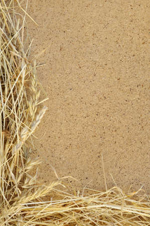 osb: Detail of dry grass hay and OSB, oriented strand board  - frame Stock Photo