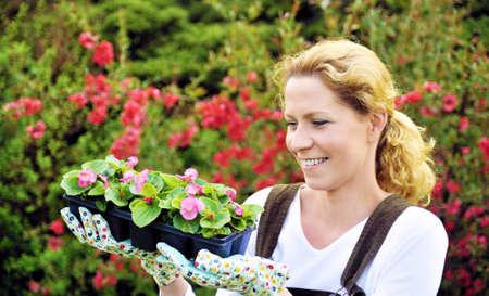 replant: Donna con piante coltivate contenitore Archivio Fotografico