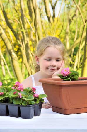 floriculturist: Little girl gardening