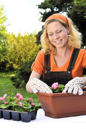replanting: Young woman planting flowers Stock Photo