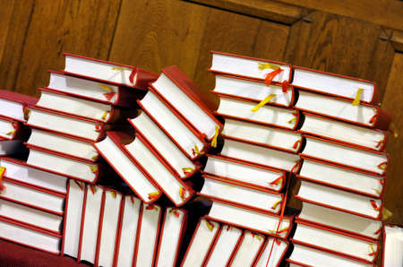 Hymnals and prayer books - stack Stock Photo