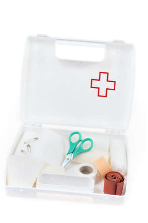 Open first aid kit isolated on white background Stock Photo - 9111279